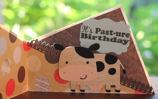 Pasture Birthday Cow Twisted Fold Greeting Card