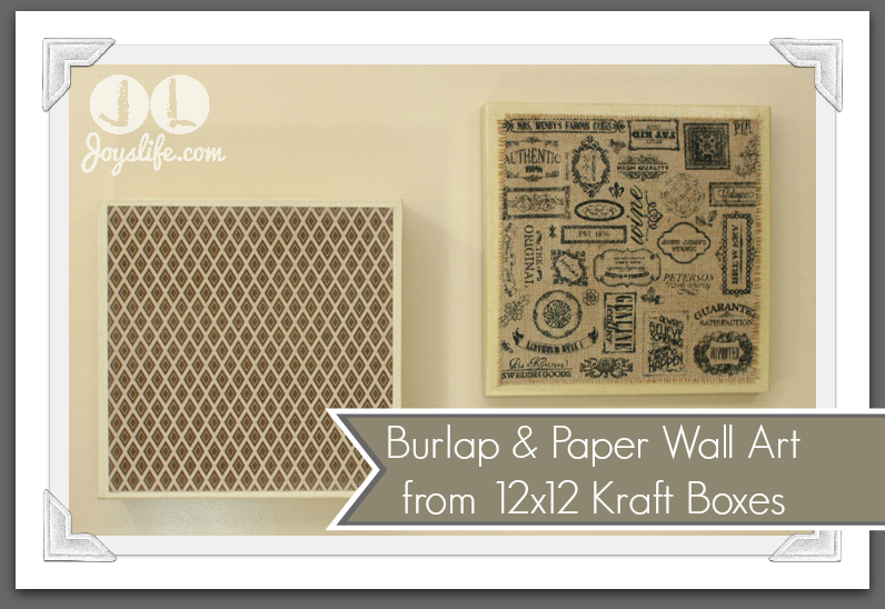 Burlap and Paper Wall Art from 12×12 Kraft Boxes #SEI #Burlap #DIY #WallArt