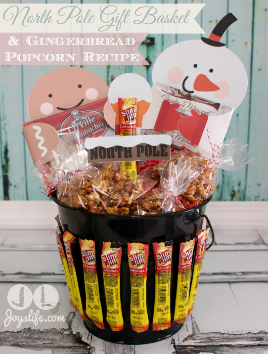 North Pole Gift Basket and Gingerbread Popcorn Recipe #EasyGifts #shop