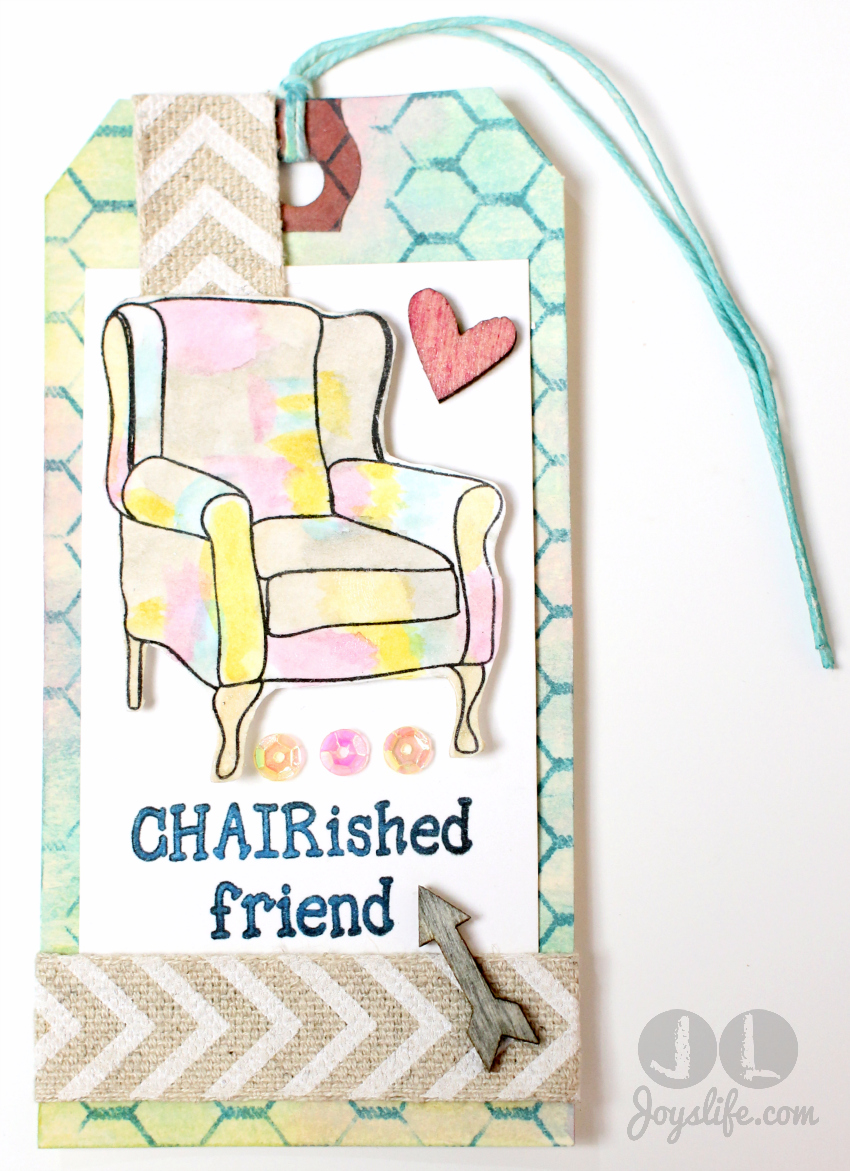 """""""Chair""""ished Friend Mixed Media Tag with #FaberCastell #DesignMemoryCraft #MixedMedia #tag"""