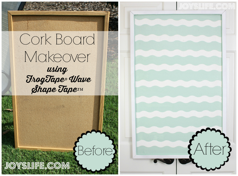 Cork Bulletin Board Makeover using FrogTape® Shape Tape™ #ShapeTape #ad #corkboard #diy #makeover