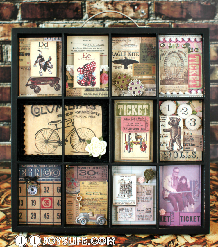 Typesetter Tray Memory Frame – Glue Dots & Marion Smith Blog Hop