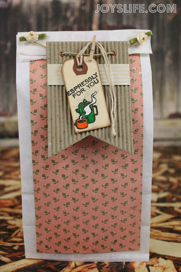 Lunch Bag Turned Coffee Gift Bag #coffee #gift #giftbag #joyslifestamps #sei #diy