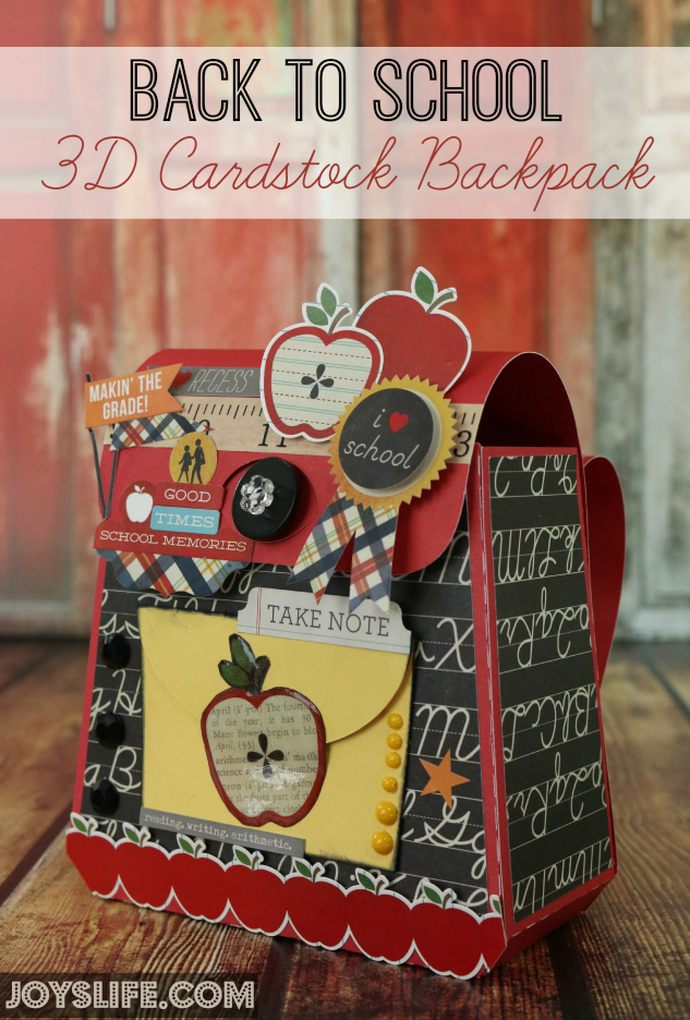 Back To School 3D Cardstock Backpack #Xyron #SVGCuts #3d #cardstock #backpack #simplestories