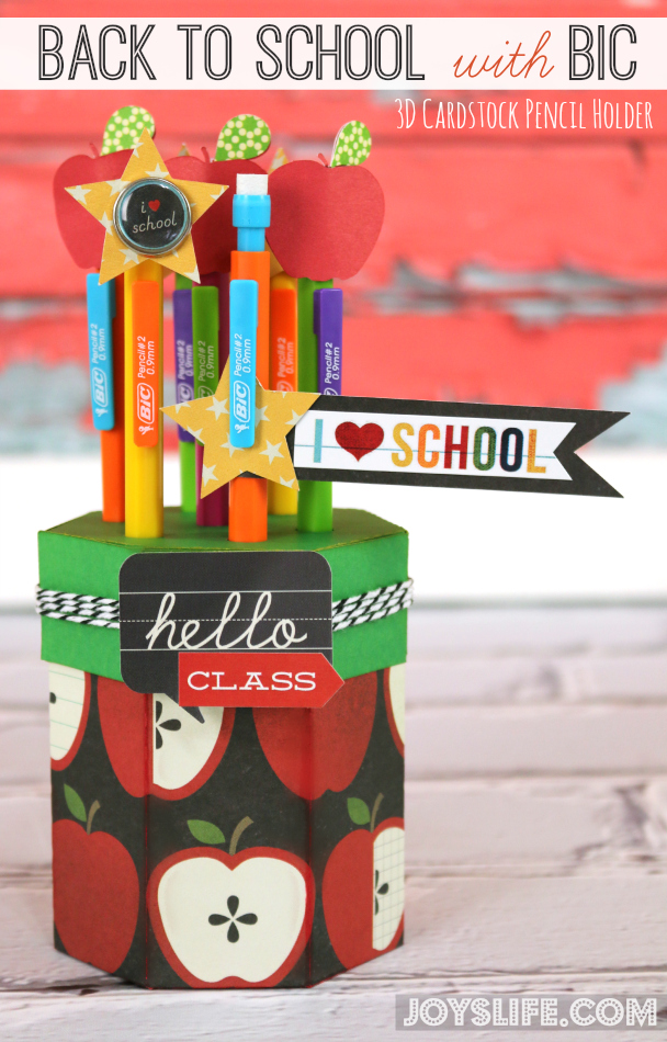 Back to School with BIC 3D Cardstock Pencil Holder | Joy's ...