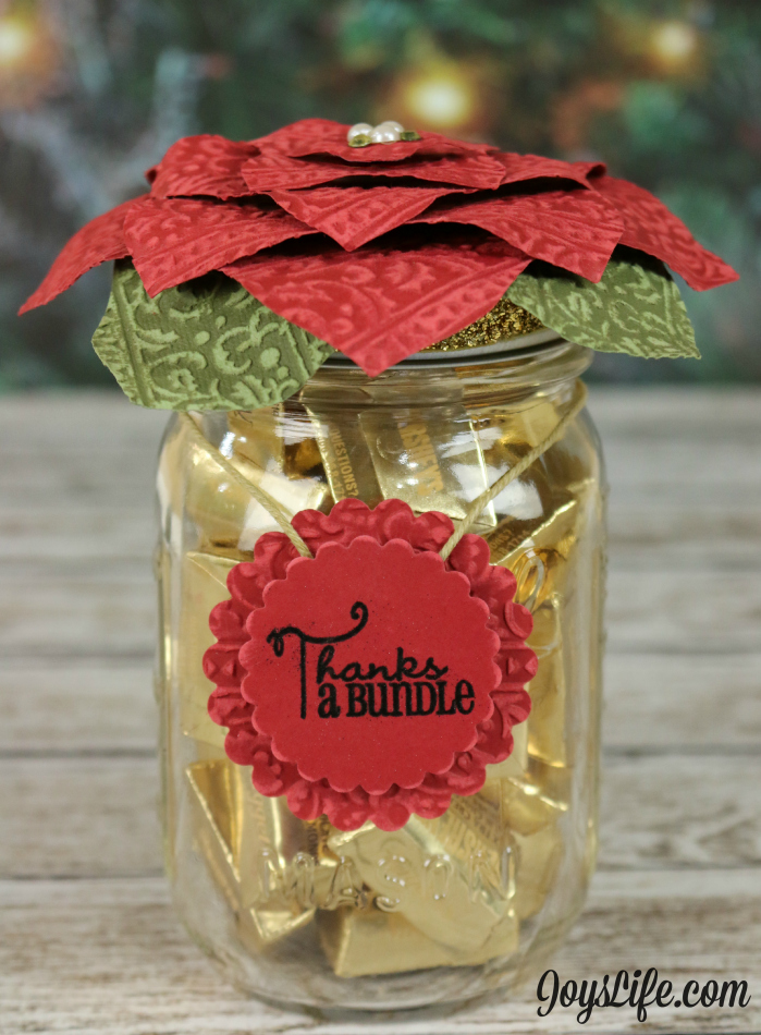 Poinsettia Mason Jar Topper with Spellbinders & Xyron #Spellbinders #Xyron #Poinsettia #CutNBoss #Coredinations