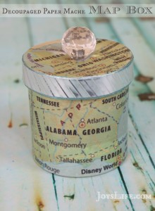 Decoupaged Paper Mache Map Box with Mod Podge
