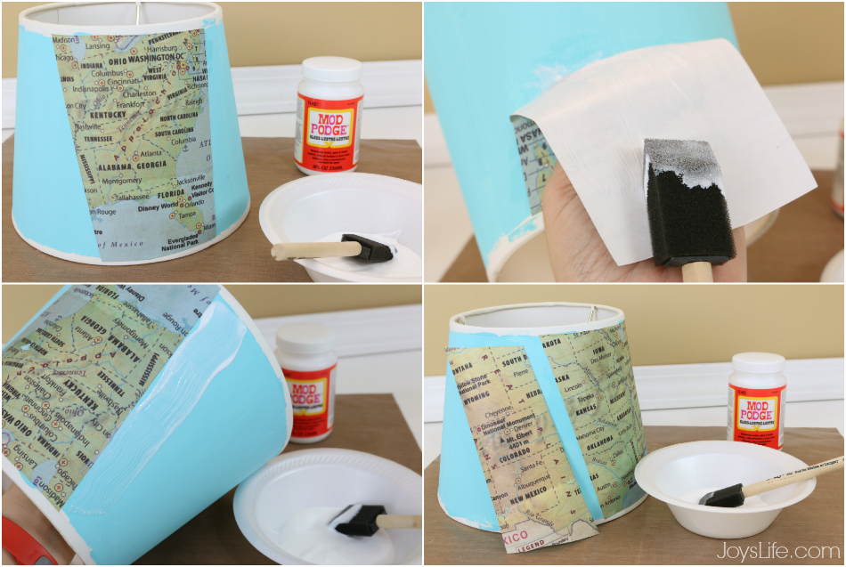 Map Paper Lamp Shade Makeover #ModPodge #DIY #lampshade