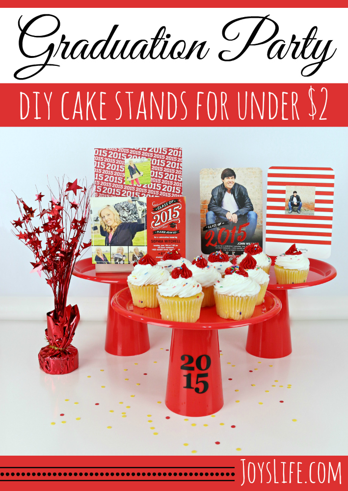 Graduation Party DIY Cake Stands for Under $2 #ShutterflyGrad #ad