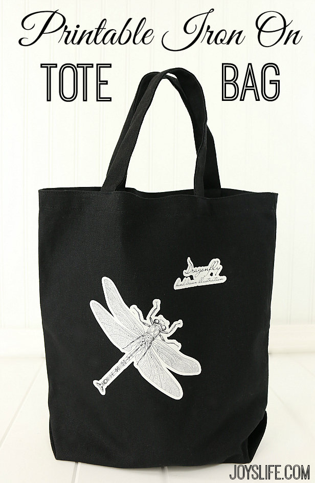 Dragonfly Printable Heat Transfer Tote Bag with Graphic Stock #GraphicStock #SilhouetteCameo #heattransfer #ad