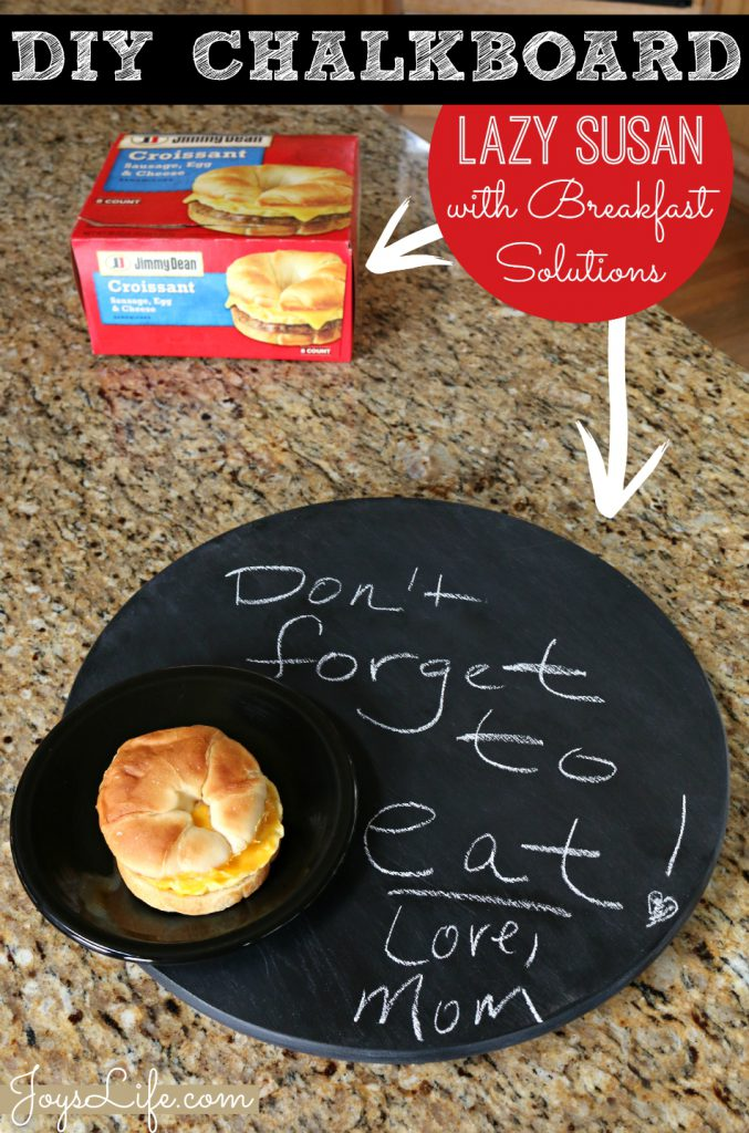 DIY Chalkboard Lazy Susan with Breakfast Solutions