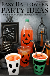 Easy Halloween Party Ideas & Free Silhouette Monster Face File