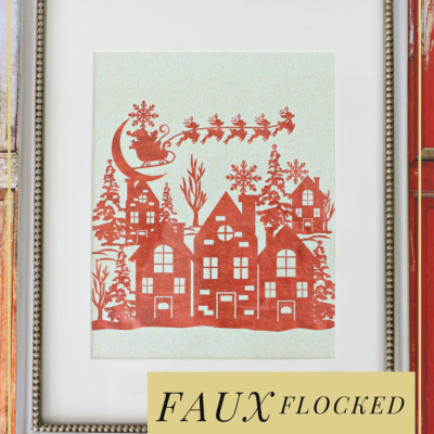Faux Flocked Santa Wall Art