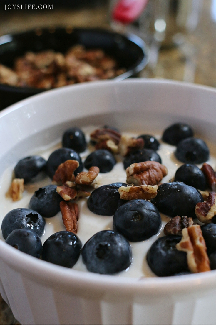 Baked Pecan and Blueberry Oatmeal Brulee