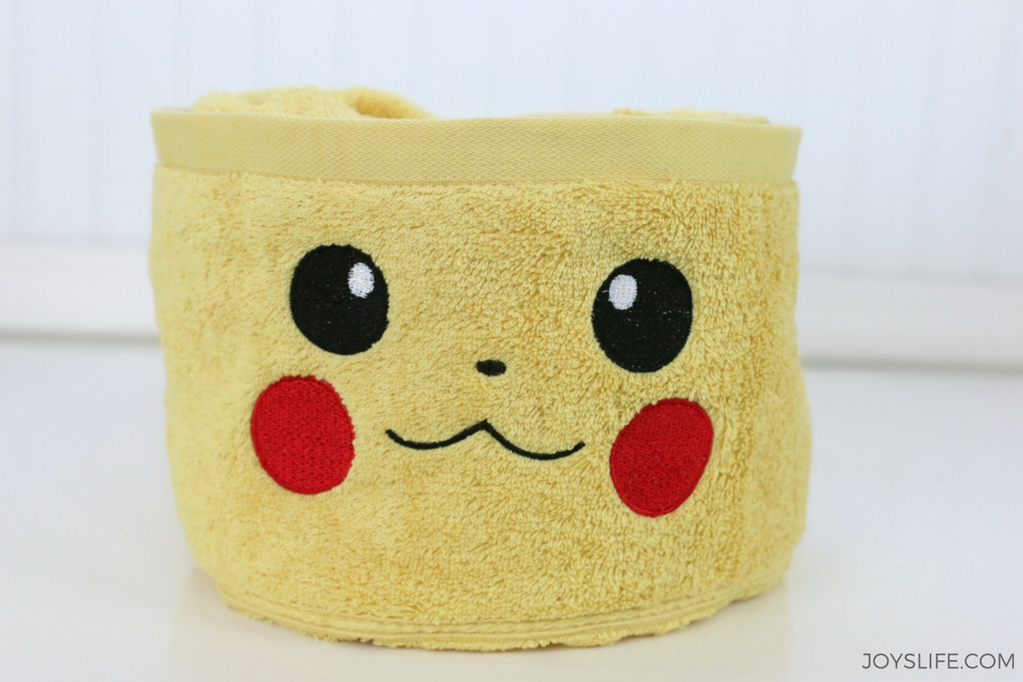 pikachu rolled yellow towel