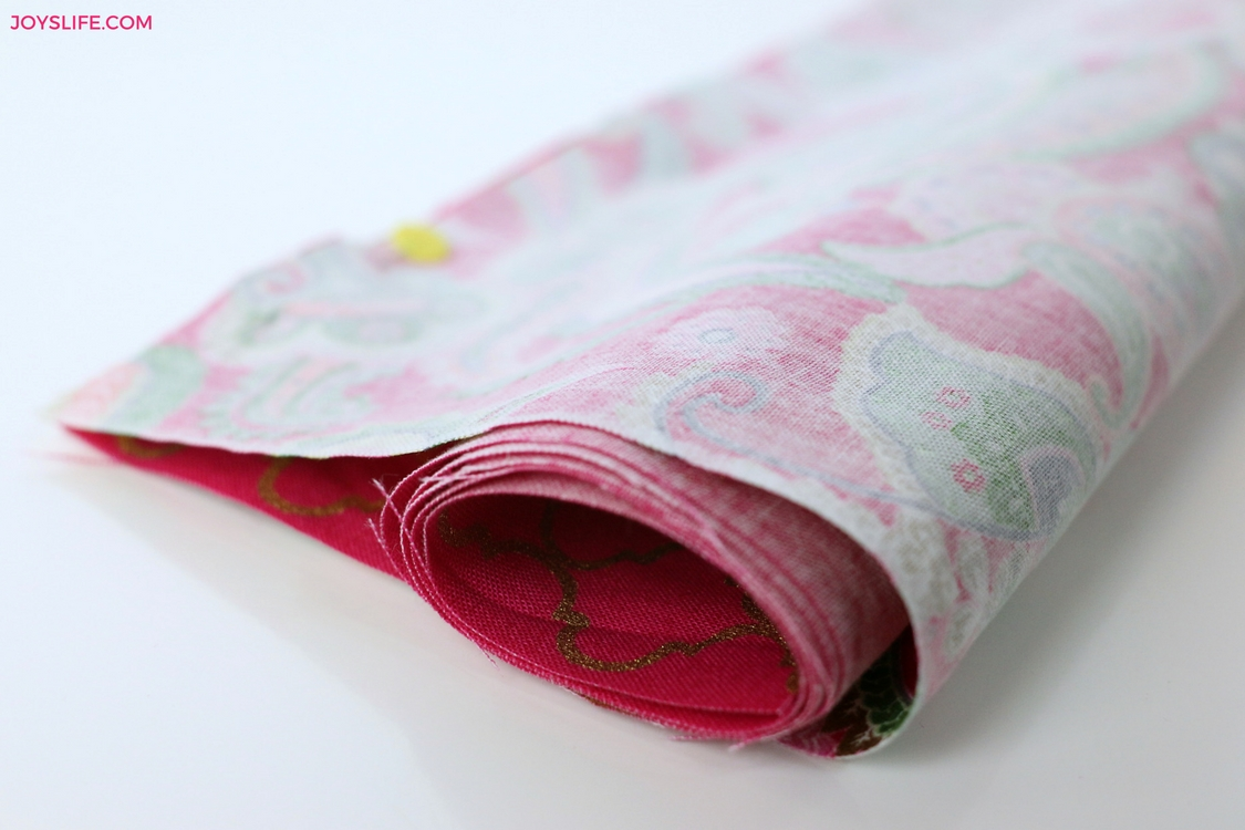 rolled pinned pink fabric