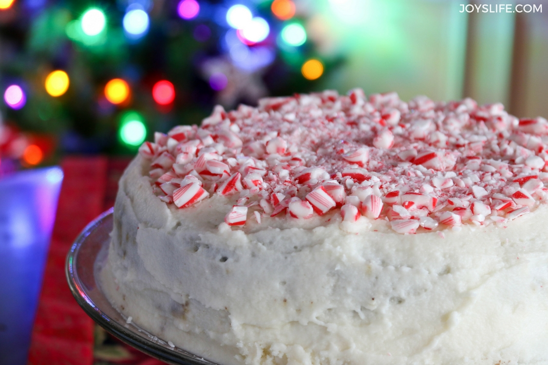 peppermint chocolate cake crushed candycane top