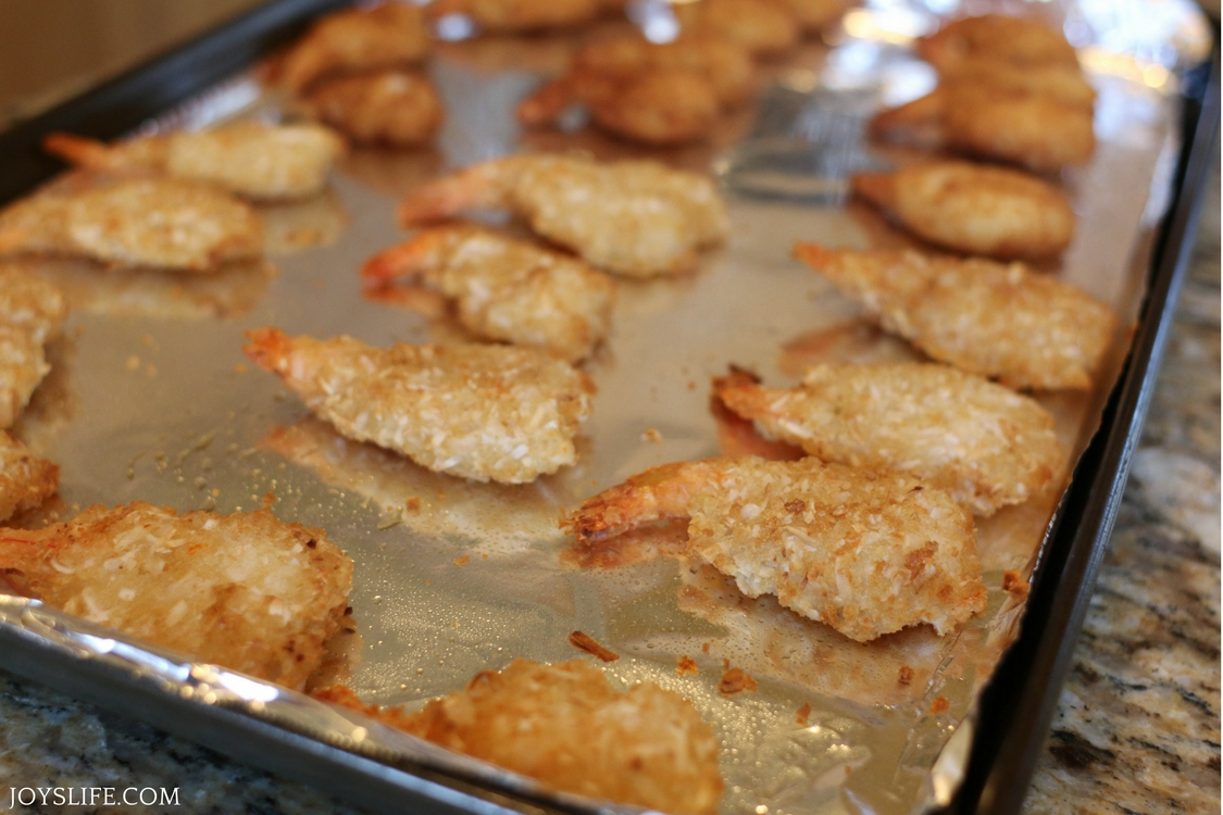 cooked coconut and butterfly shrimp