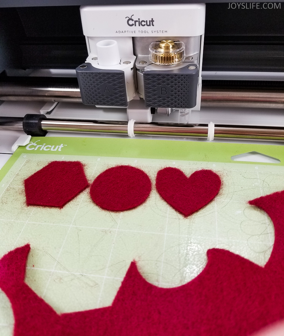 Cricut Maker cutting felt heart hexagon