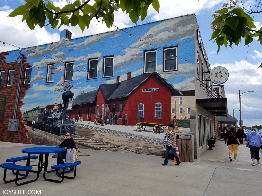 Train Mural in Hamilton Missouri at Missouri Star Quilt Company