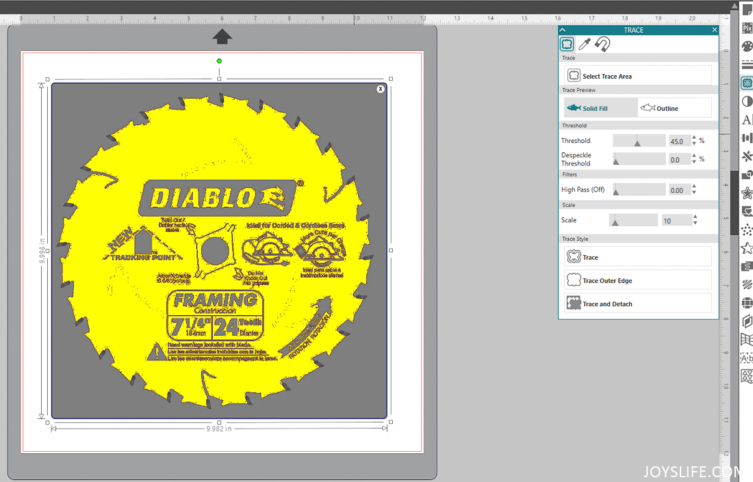 Saw Blade Solid Fill Import with Silhouette Studio Software