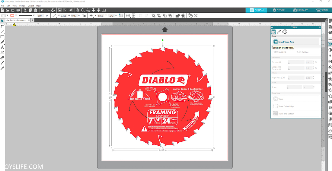 Saw Blade Image import for Silhouette Cameo 3