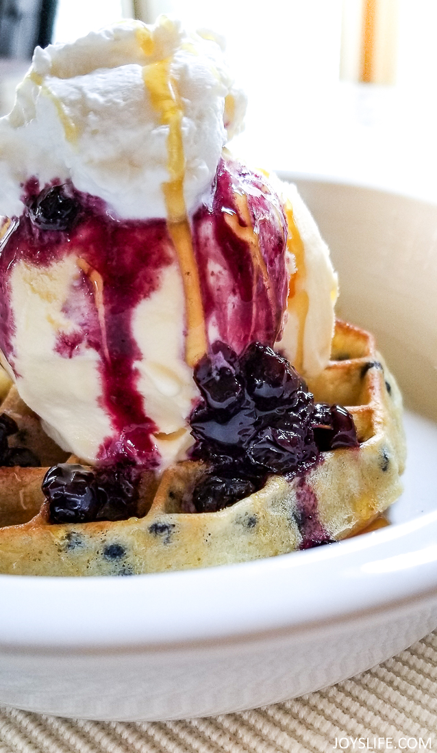 Belgian Waffles and Blueberry Compote Ice Cream Dessert #waffleicecream #belgianwaffle