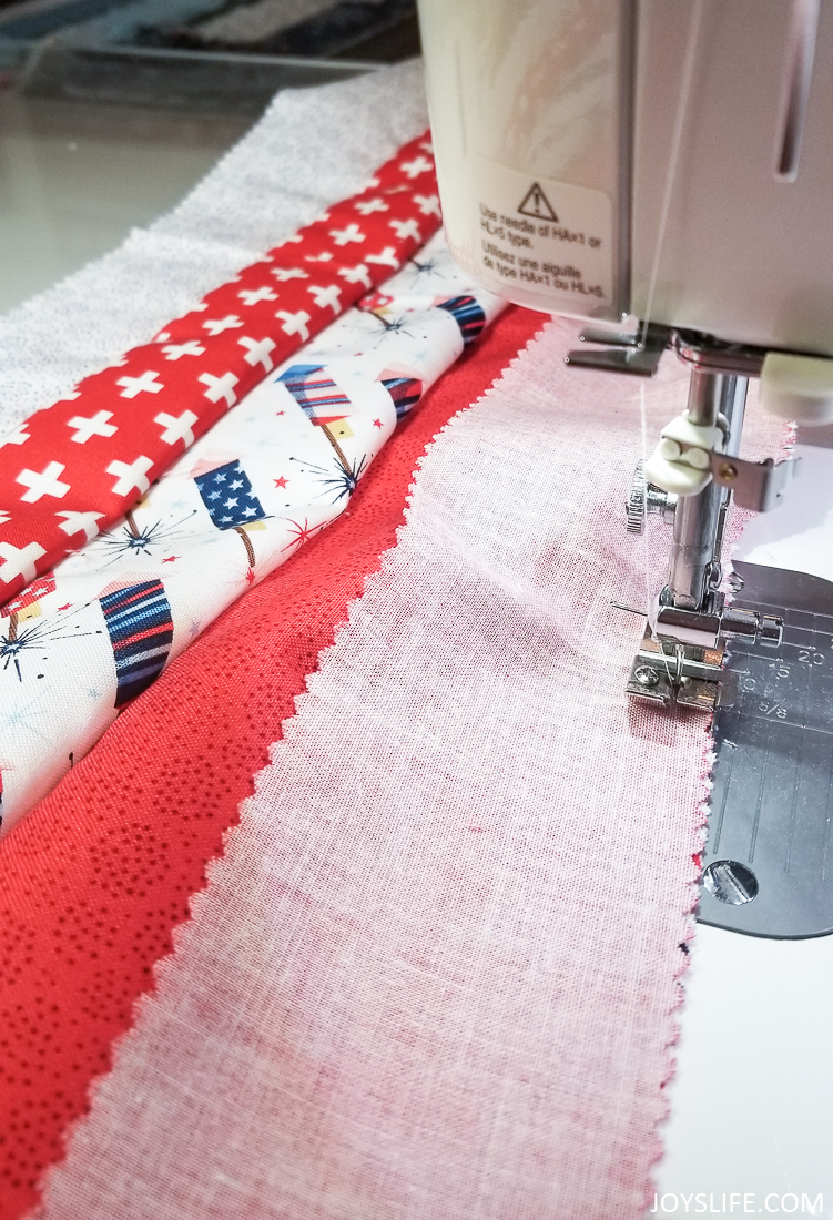 sewing rows of material