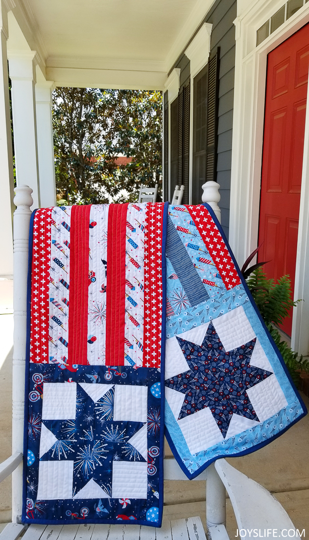 American flag table runner on covered porch