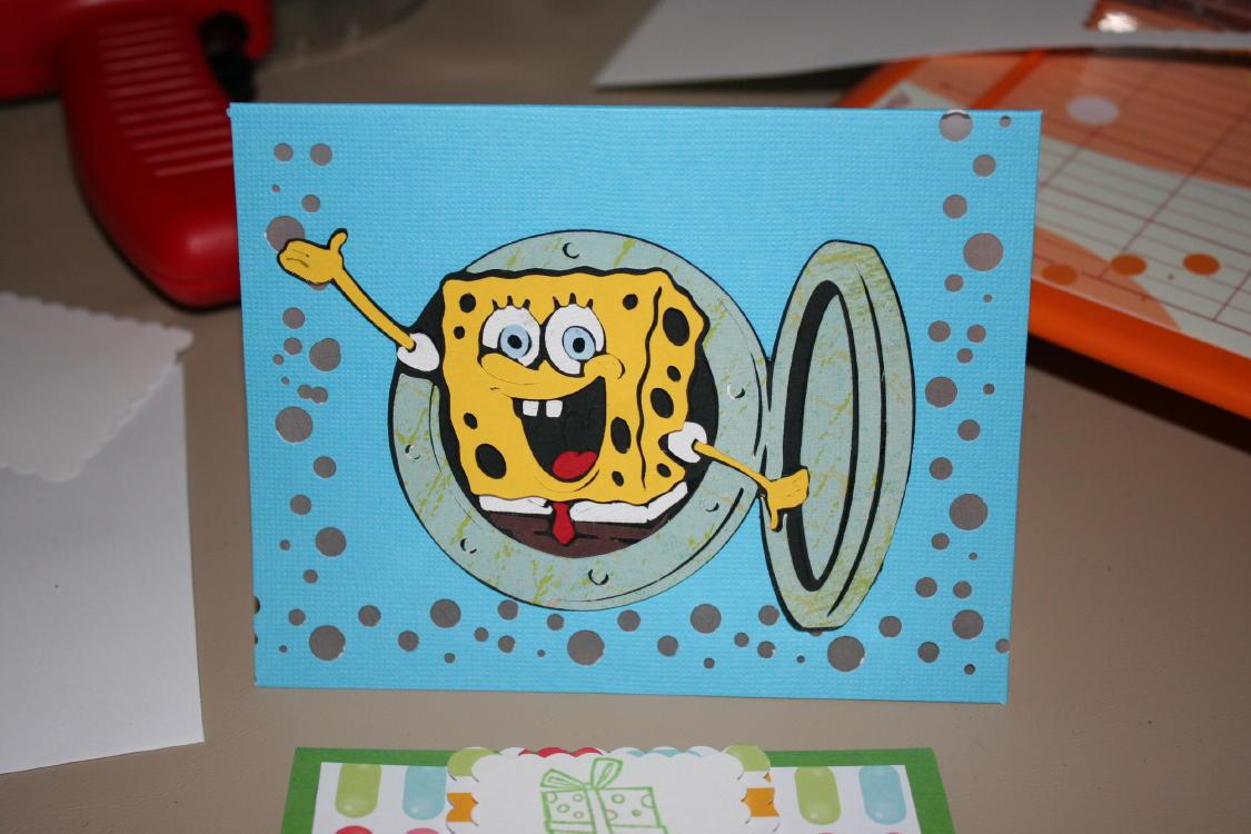 SpongeBob Cricut Card & Quick Candy Bag