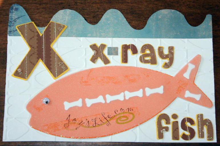 """Joy's Life ABC Book Cricut Cuttlebug Project """"W"""" Whale """"X"""" X-ray Fish """"Y"""" Yak"""