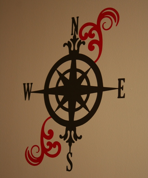 vinyl compass on wall