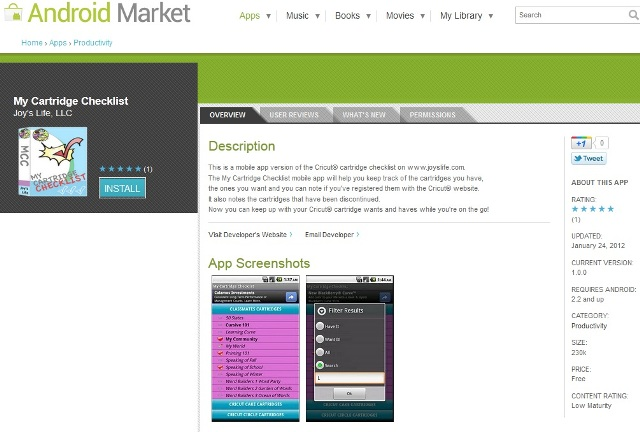 My Cartridge Checklist APP NOW LIVE on the Android Market