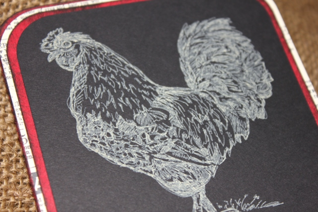 Cri-Kits Gel Pens Rooster Sketch Card with Sizzix Eclips