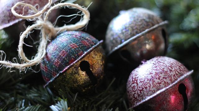 Fabric Jingle Bells with Mod Podge