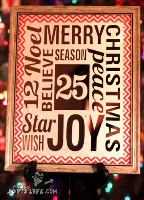 Glass Etched Mirror Christmas Word Art