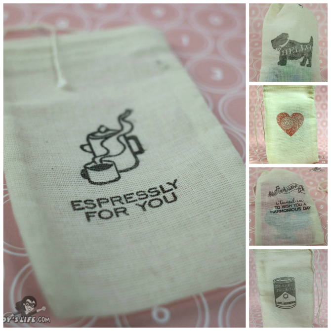How to Stamp on Cotton Muslin Bags at www.joyslife.com