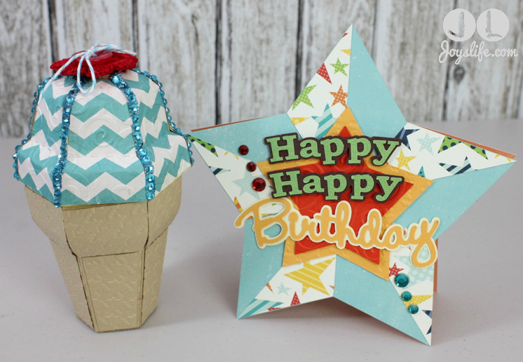 Ice Cream Cone Gift Box & Star Birthday Card