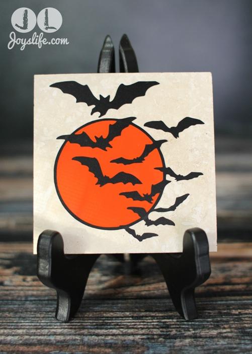 Vinyl Bat Swarm Travertine Tile Drink Coaster