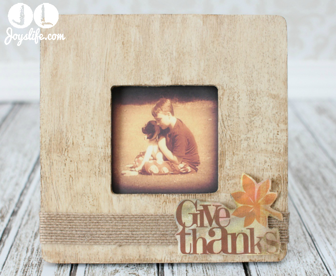 Give Thanks Faux Wood Grain Frame with Faber Castell