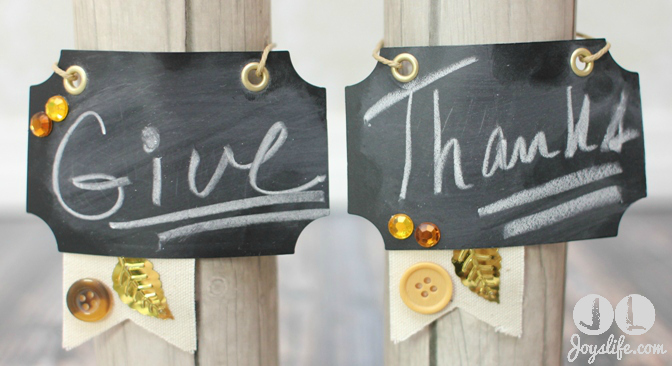 Dollar Store Thanksgiving Candles with Chalkboard Tags