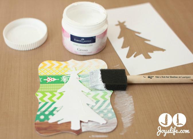 Christmas tree gesso washi