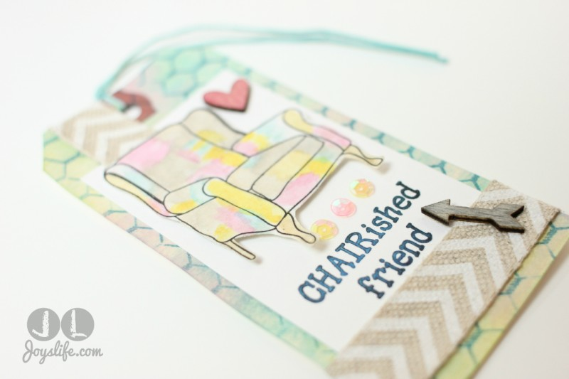 """Chair""ished Friend Mixed Media Tag with #FaberCastell #DesignMemoryCraft #MixedMedia #tag"