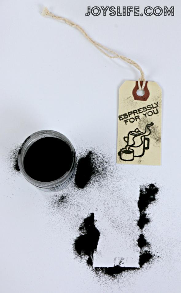 Lunch Bag Turned Coffee Gift Bag #coffee #gift #giftbag #joyslifestamps #sei #diy