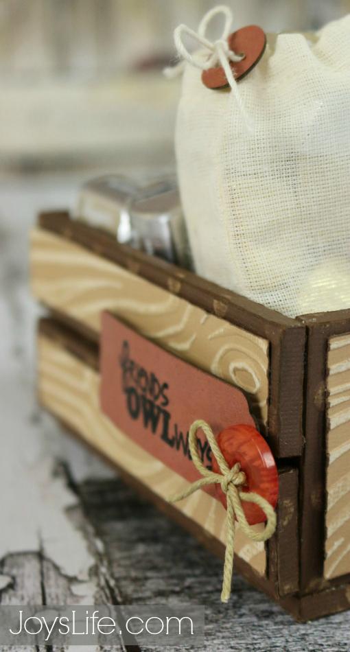 Friends Owlways Faux Wood Crate #Coredinations #JoysLifeStamps #SilhouetteCameo #LoriWhitlock