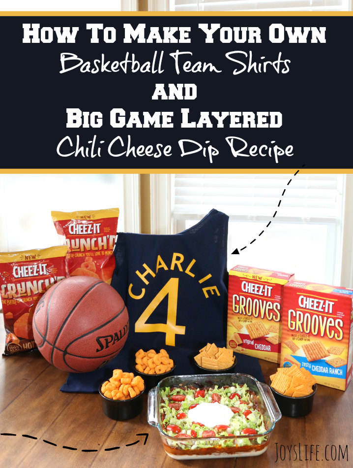 DIY Basketball Team Shirts & Big Game Layered Dip Recipe #BigGameSnacks #Ad @Walmart #CRUNCHD