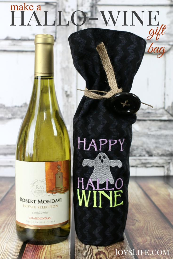 Create a Happy HalloWINE Embroidered Wine Bag #BeenBooed #ad #HalloWINE