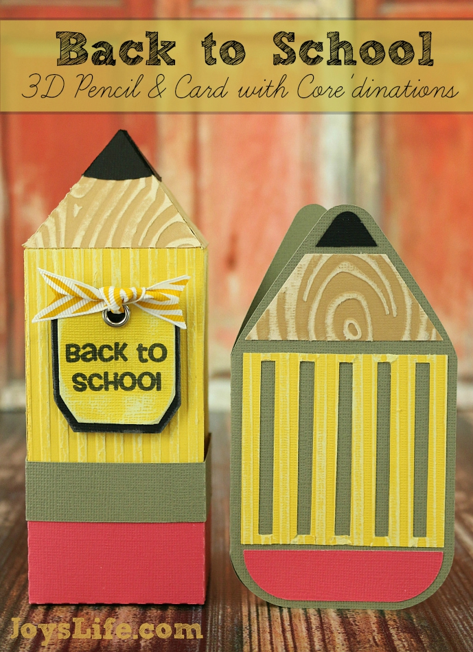 Back to School 3D Pencil & Card #SilhouetteCameo #3D #Coredinations