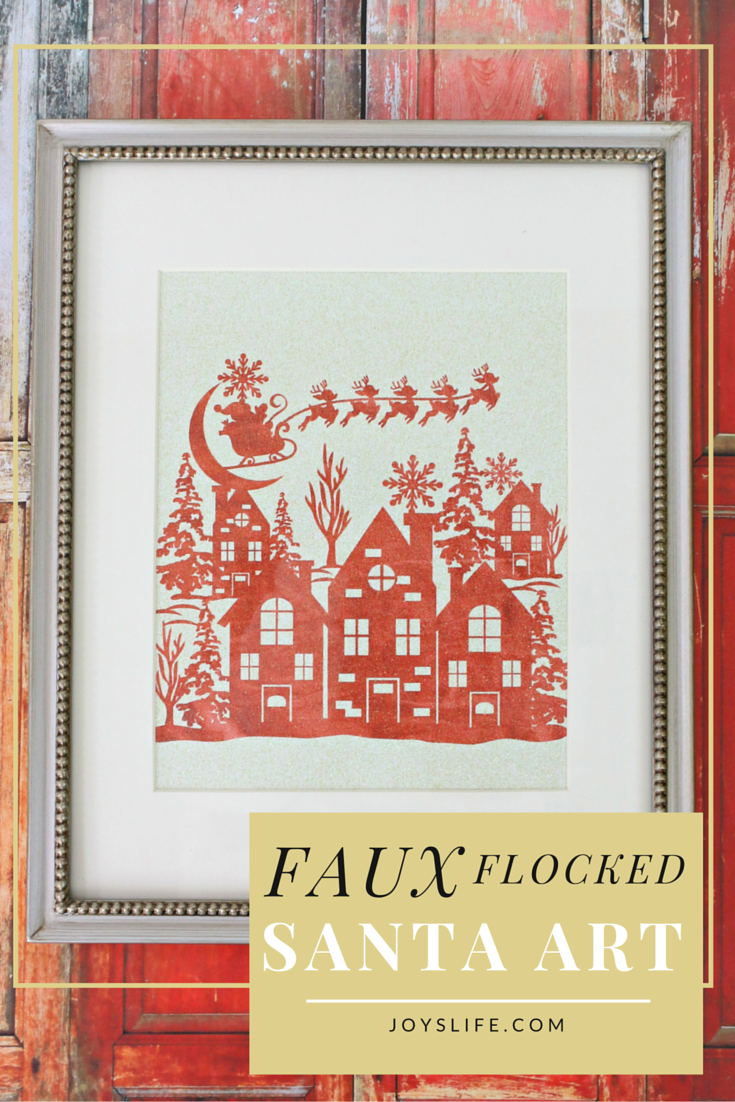 Faux Flocked Santa Art #Coredinations #Santa #WallArt #Faux #BluePrintSocial #ad #InkjetGlitter