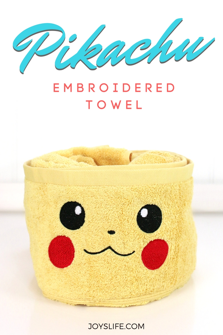 Pikachu Pokemon Embroidered Towel